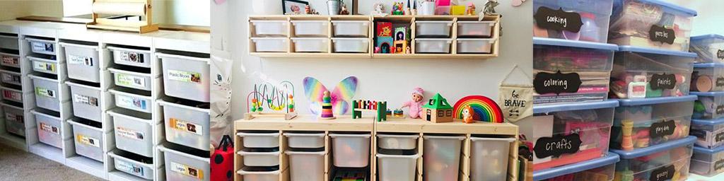 Caixas transparentes para organizar brinquedos