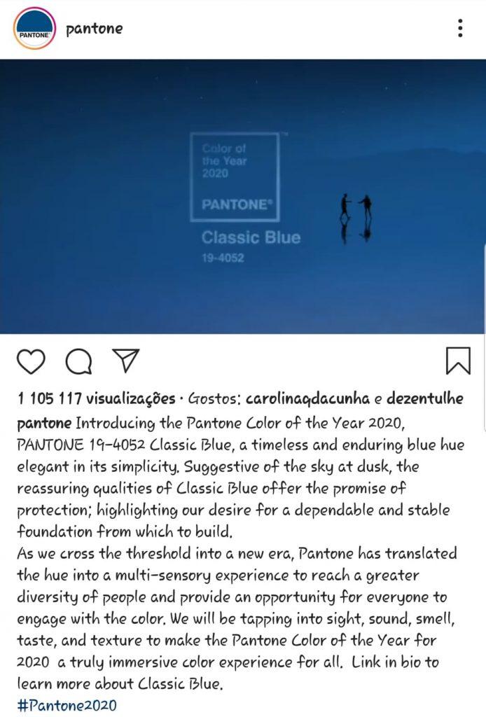 Post Instagram da Pantone