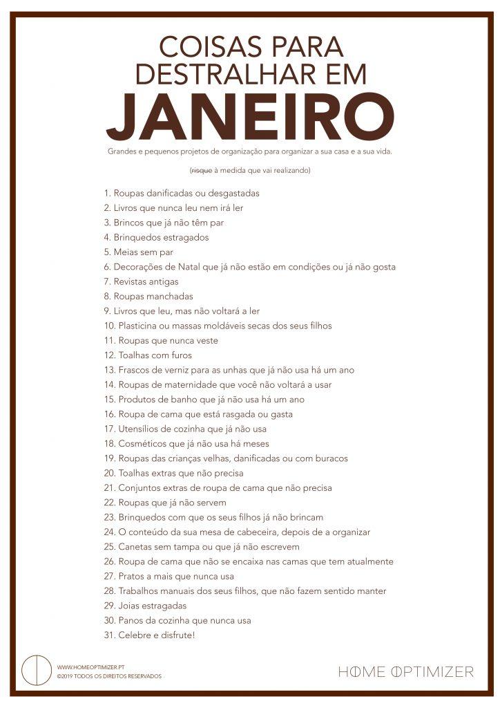 Checklist de janeiro